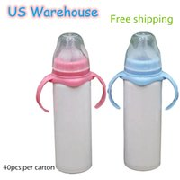 US Warehouse Sublimation tumblers 8oz Sippy Cups Stainless Steel double wall vaccum insulated Bottle 2 colors BPA Free lids for Baby Kids Portable Water Bottles
