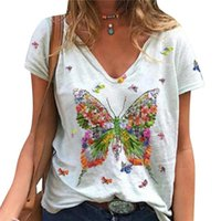 Women's T-Shirt Big Butterflies Female Short-sleeved V-neck Casual Clothes Printed T Shirts Tops