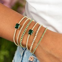Link, Chain GLAMing Luxurious Green Bracelet Charms Anklet For Women Bracelets On Hand Jewelry Rhinestone Bangles Wholesale Beach Gift