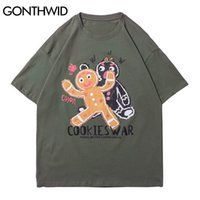 جونثويد تيز قميص الشارع الشهير الكرتون الكوكيز الحرب طباعة بلايز الهيب هوب عارضة القطن فضفاض القمصان المتناثرة قصيرة الأكمام قمم C0315