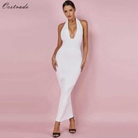 Ocstrade Womens Sexy Bandage Dress Club Wear Summer Backless White Bodycon es Hollow Out Vneck Long Maxi 210527