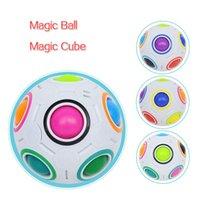 Rompecabezas de la bola del arco iris Juguete de Cubo Mágico Esférico Niños adultos Plastic Creative Football Aprendizaje Educativo Regalos para niños
