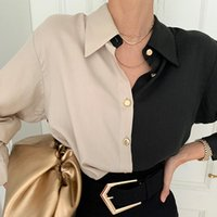 Women's Blouses & Shirts Spring Women Vintage Blouse Single Breasted Turn-down Collar Office Ladies Long-sleeved Panelled Fashion Loose Shir