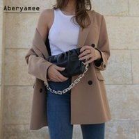 Costumes de femmes blazers aberyamee chic blazer femme triple boutonnée mince brun jack