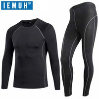 Men's Sleepwear IEMUH Winter Thermal Underwear Sets Men Quick Dry Gymming Anti-microbial Stretch Thermo Male Long Johns Fitnes