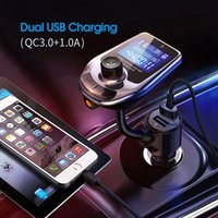Car Charger QC3.0 TF Card Blue LCD Digital Screen Wireless 5.0 Connection Mini Fast Dual 3.1A USB