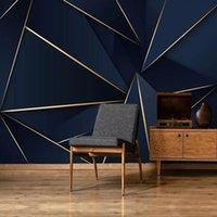 Легкие роскошные абстрактные золотые линии синяя роспись 3D обои для гостиной спальня фон стены дома декор стены ткань фреску