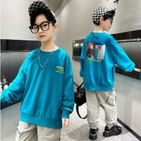 Children's Hoodies Boys T-shirt 2021 New Spring and Autumn Kids Long Sleeve Fashion Leisure Hoody Print 2 Colors Size4-14 ly239
