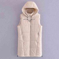 2021 Зимний Хлопок Мягкий Жилет Без рукавов Женщины Дамы Повседневная Женская Длинная Куртка Теплый Пальто