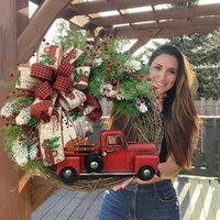 Red Truck Christmas Wreath Window Front Door Decoration Wall Hanging For Xmas Decorations Props Party Home DHL