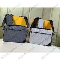 Trio Messenger Bag Designer Mens Luxurys Borse a tracolla 3 in 1 Crossbody con una piccola borsa di monete Rimovibile Pocket con zip frontale M69443