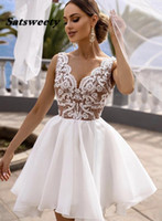 White Lace Short Graduation Dresses 2022 Ball Gown Organza V Neck Sleeveless Illusion Homecoming Party Formal Gowns vestidos de