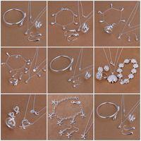 Venda quente das mulheres Sterling Silver Jewelry Conjuntos 6 conjuntos muito estilo misturado moda 925 prata colar bracelete brinco anel jóias conjunto 245 T2