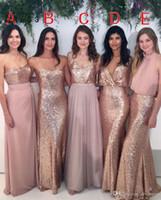 Robes de demoiselle d'honneur mixte Rose rose rose avec or rose Plancher de plancher Longueur de mélange Styles de mariage de mariage