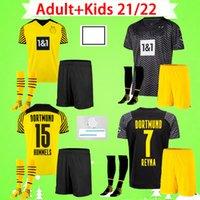 Комплект для взрослых и детей с носками 21 22 Футболка Borussia dortmund 2021 2022 Футболки HAALAND REUS SANCHO HUMMELS BRANDT Костюм для мальчиков 1990 Limited Edition мужские