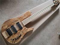무료 배송 Imperial 5 Strings베이스 기타, Spalted 메이플 베니어, 24 프렛, 블랙 버튼, 메이플 지판