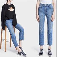 2021 Hight Quality Женщины Мужчины Длинные тонкие прямые джинсы дизайнерские ножки на молнии весна лето роскошь новое поступление синие серые женские aw джинсовые штаны