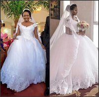 V Neck Lace Appliques Ball Gown Gorgeous Cap Sleeve Long Train Tulle Wedding Dress Puffy Ball Gowns