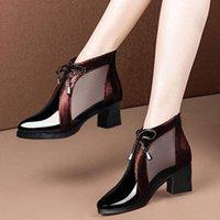 Zapatos de vestir 2021 primavera sandalias de verano botas de patente de cuero grueso tacones altos puntiagudo con punta de punta estilo sexy tobillo para mujer botina feminina