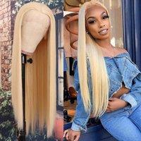 Шнуржевые парики передний парик # 613 Блондинка человеческие волосы с предварительно сорванной линией волос толстые 180% афро полный конец ребенка