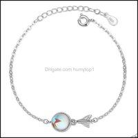 Ожерелья подвески Jewelrykorean стиль простой синий круглый шарик рыбий дом браслет очаровательные женщины sier цвет валентинок день подарки цепочки
