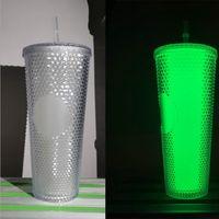 Luminous 710ml 큰 PVC 텀블러 밤에 개인화 된 글로우 24oz 무지개 빛 발스턴 무지개 유니콘 짚 fy4760와 추운 컵 커피 잔