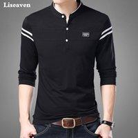 Liseaven Erkekler T Gömlek Adam Uzun Kollu Tişört erkek Giyim Mandarin Yaka T-Shirt Tops Tees Erkek Tişörtleri 210304