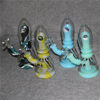 Hookahs Assemble Silicone Bongs dab rigs percolator Easy clean with bowls mini glass bong 4mm quartz nails