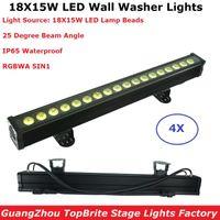 Effets 4 unités 18x15W RGBWA 5in1 LED Wall Wet Wash Lights DMX Bar Line Stage EXTÉRIEUR IP65