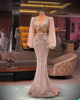 A-line fashion Mermaid Evening Dresses long-Sleeve sequins crystal fashion Prom Dress Sweep Train Formal Party Gowns Hot Sell