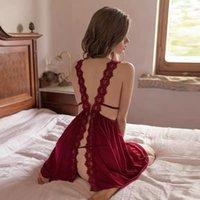 Женские сочетания плюс размер женщин V-образным вырезом Сексуальная ночная обработка повседневная ночная рубашка удобная кружевная сплошная цветная бифуркация ночная одежда