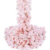 زهور الزهور الزخرفية زهر الكرز الاصطناعي جارلاند 6 قطع الحرير زهرة الوردي شنقا كرمة لحضور حفل زفاف المنزل الديكور