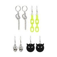 Yamog Dark Series Skeletons Gothic Earrings Stud Sets Halloween Wearing Teeth Devil Skull Earring Hook Alloy Acrylic Hollow Tassel Chain Ear Buckle European 4 Pairs