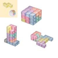 Fidget spielzeug magnetische baublöcke magische magnetics 3d puzzle cube block mit 54 leiten karten intelligenten entwickeln und stress relief großhandel fidgets spielzeug gyqqq