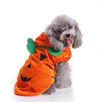 Vêtements de chien Costume d'animaux mignon pour les vêtements de fête de Noël Halloween Chaton Cat Mode Pumpkin motif Petites manteaux Veste D40