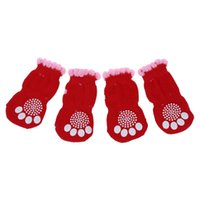 Dog Apparel 2 Pairs Size L Antislip Bottom Pet Doggie Puppy Socks Red Pink