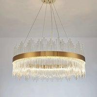 Modern Round Crystal Chandelier Pendant Lamps For Dining Room Rectangle Design Kitchen Island Lighting Fixtures Chrome LED Cristal Lustre