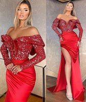2021 Plus Size Arabic Aso Ebi Red Mermaid Sequined Prom Dresses High Split Long Sleeves Evening Formal Party Second Reception Bridesmaid Gowns Dress ZJ465