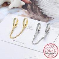 Hoop & Huggie 1 Pcs 925 Sterling Silver Round Earrings For Women Charming Trendy Gold Chain Tassel Fashion 2021