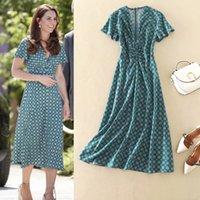 Uzun Elbise Kate Middleton Yüksek Kalite 2020 Yaz Yeni kadın Moda Parti Seksi Plaj Boho Vintage Zarif Şık Baskı Elbiseler