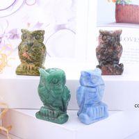 Crystal Owl Arts e Artigianato Ornamenti Statua Desktop Un soggiorno Stile cinese Ornamento da 1,5 pollici DHD8940