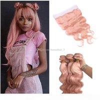 레이스 정면 폐쇄 핑크 바디 웨이브 헤어 웨임스와 로즈 골드 인간의 머리카락 번들 레이스 정면 폐쇄 핑크 인간의 머리카락 weaves