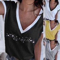 Frauen T-Shirt Patchwork Cold Shoulder 5XL Plus Größe Tops V-Ausschnitt Halbhülse Weibliche T-Shirt Sommer Casual T für Frauen