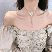 Earrings & Necklace SHIFEEL Korea Fashion Rhinestone Butterfly Pearls Tassel Clavicle Chain Collar Rings Women Jewelry Sets
