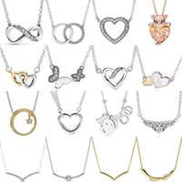 تألق إنفينيتي كولير القلب فتح اثنين دوائر المتشابكة قلادة للأزياء 925 فضة الخرزة سحر المجوهرات Q0127