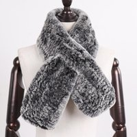 Scarves Winter Women Knitted Real Rex Fur Scarf Natural Soft Muffler Russia Lady Warm