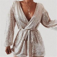 Women's Jumpsuits & Rompers Sexy Women Sequins Jumpsuit Long Sleeve Bodycon Playsuit With Belt Female Romper Shiny Sparkle Lady Party Clubwe