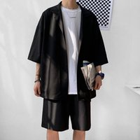 Men's Tracksuits Korean Style Set Suit Jacket With Shorts Summer Men Clothes Oversized Short Sleeve Blazer Knee-Length Pant For