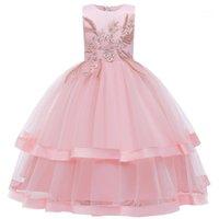 Mädchen Kleider Blume Kind Hochzeitsfeier Brautjungfer Lang Gesticktes Perlen Kleid Mädchen Prinzessin Weihnachten Ball Kommunion Kleid1