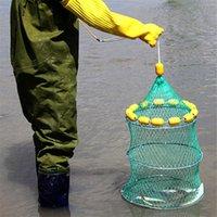 Red de pesca flotante automática jaula cangrejo plegable crawdad shrimp Minnow bait trampa fundido de pescado de pescado portátil red de pesca plegable